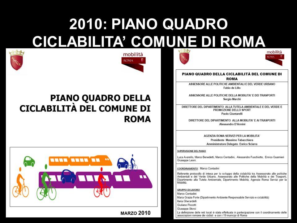2010: PIANO QUADRO CICLABILITA' COMUNE DI ROMA