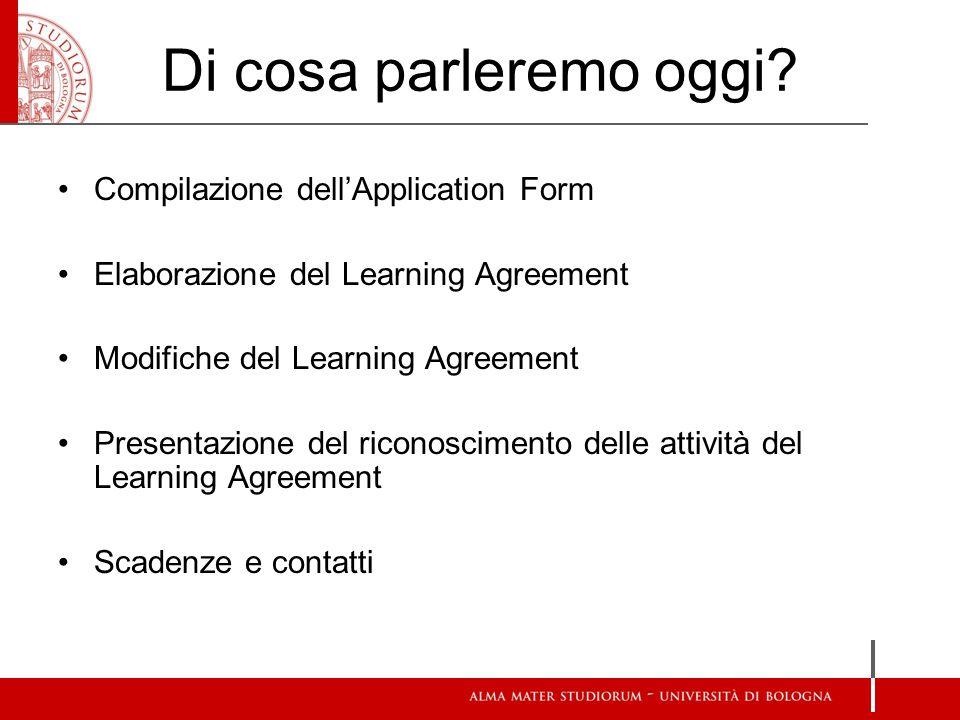 Di cosa parleremo oggi Compilazione dell'Application Form