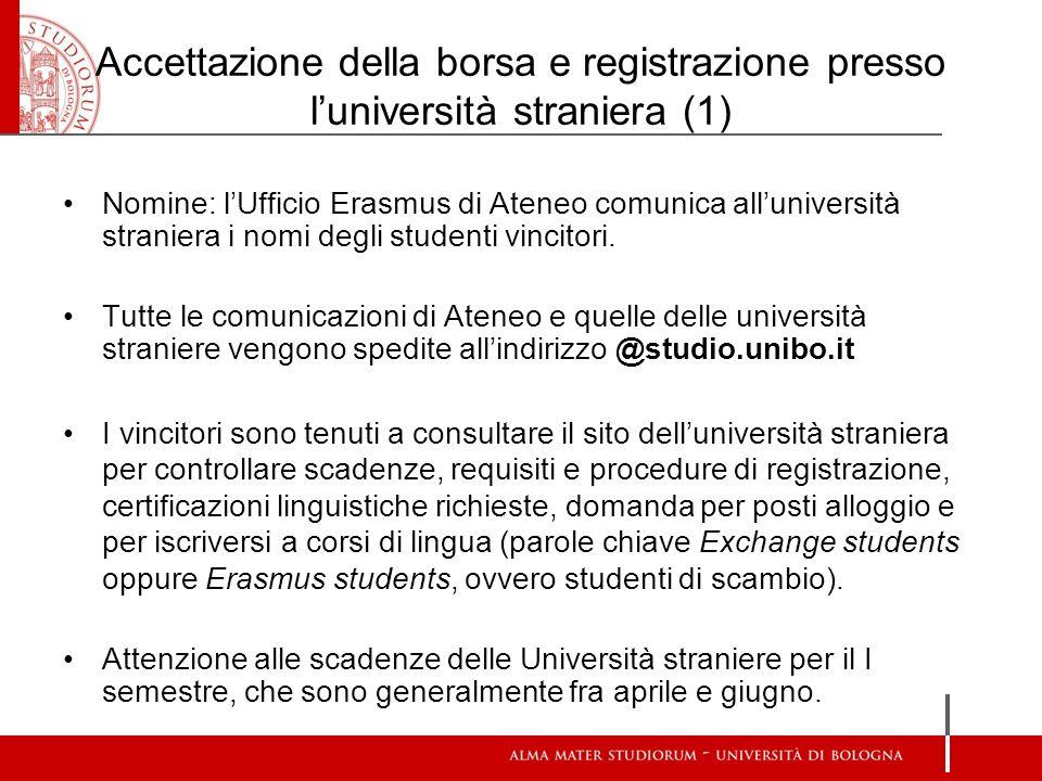 Accettazione della borsa e registrazione presso l'università straniera (1)