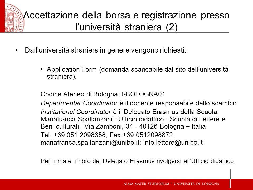 Accettazione della borsa e registrazione presso l'università straniera (2)