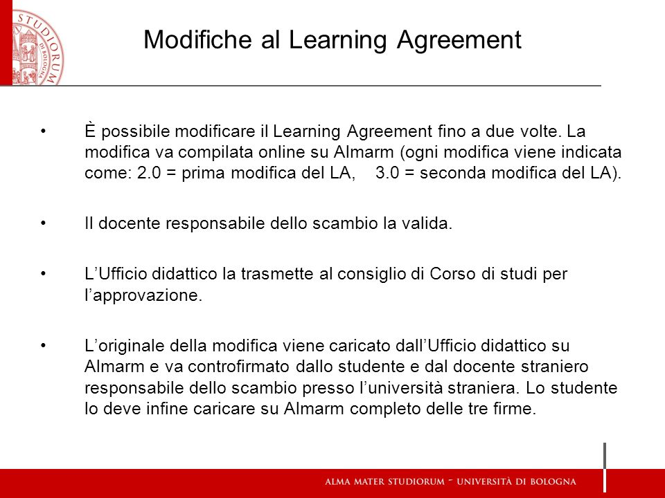Modifiche al Learning Agreement