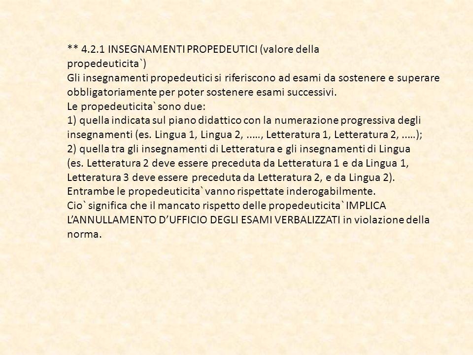 ** 4.2.1 INSEGNAMENTI PROPEDEUTICI (valore della