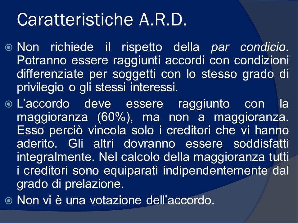 Caratteristiche A.R.D.