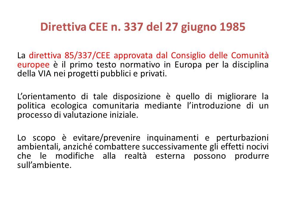 Direttiva CEE n. 337 del 27 giugno 1985