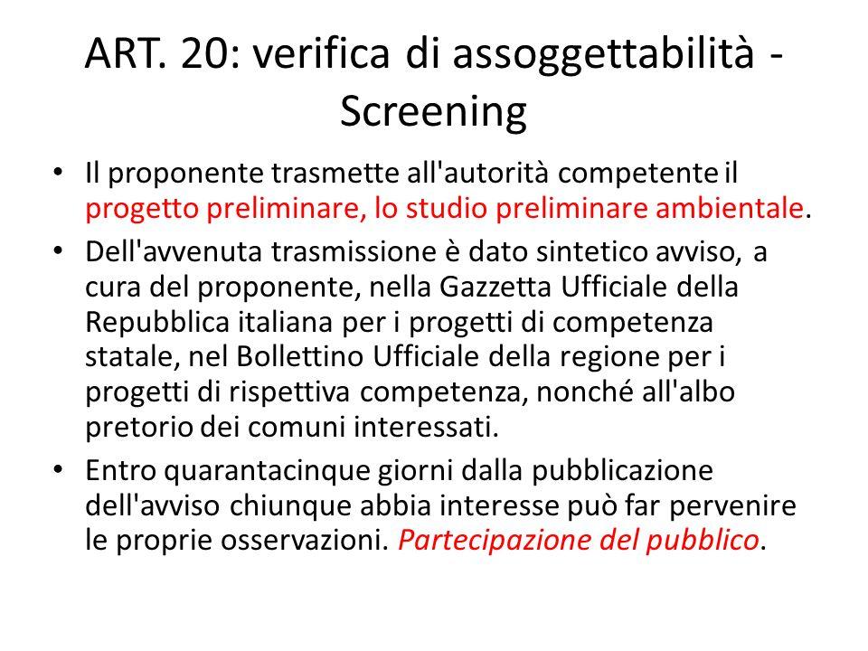 ART. 20: verifica di assoggettabilità - Screening