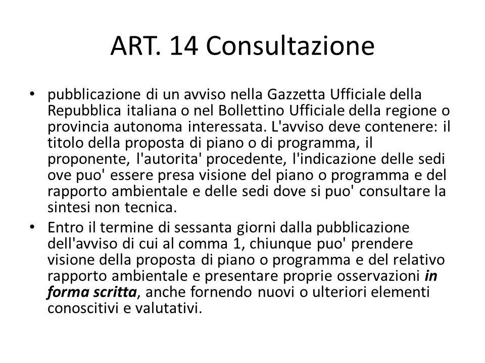 ART. 14 Consultazione
