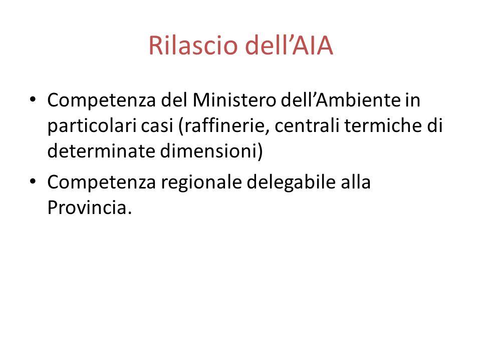 Rilascio dell'AIA Competenza del Ministero dell'Ambiente in particolari casi (raffinerie, centrali termiche di determinate dimensioni)