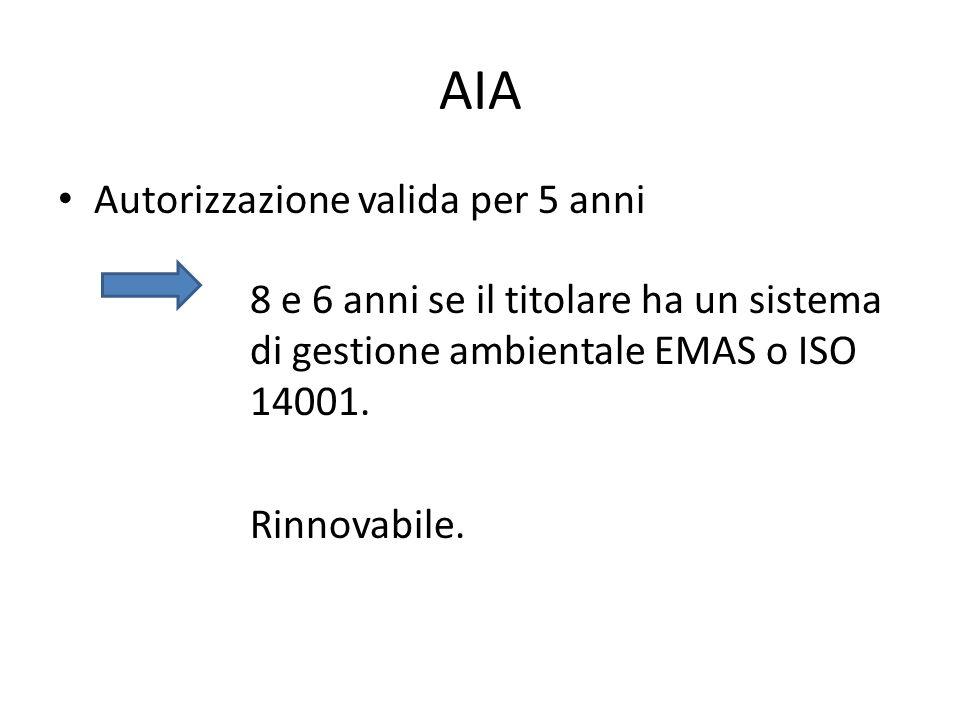 AIA Autorizzazione valida per 5 anni