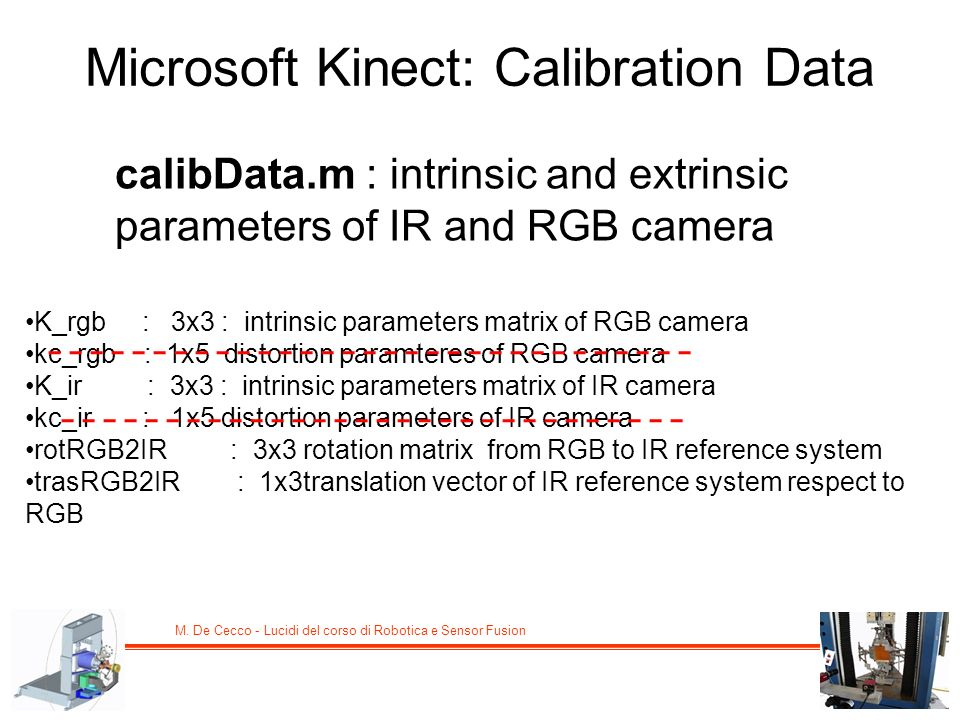 Microsoft Kinect: Calibration Data