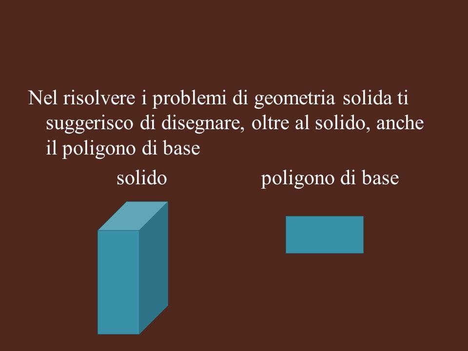 Nel risolvere i problemi di geometria solida ti suggerisco di disegnare, oltre al solido, anche il poligono di base solido poligono di base