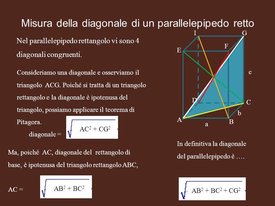 Misura della diagonale di un parallelepipedo retto