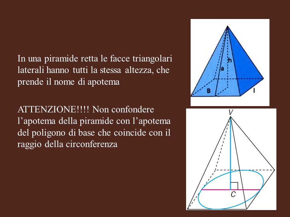In una piramide retta le facce triangolari laterali hanno tutti la stessa altezza, che prende il nome di apotema ATTENZIONE!!!.