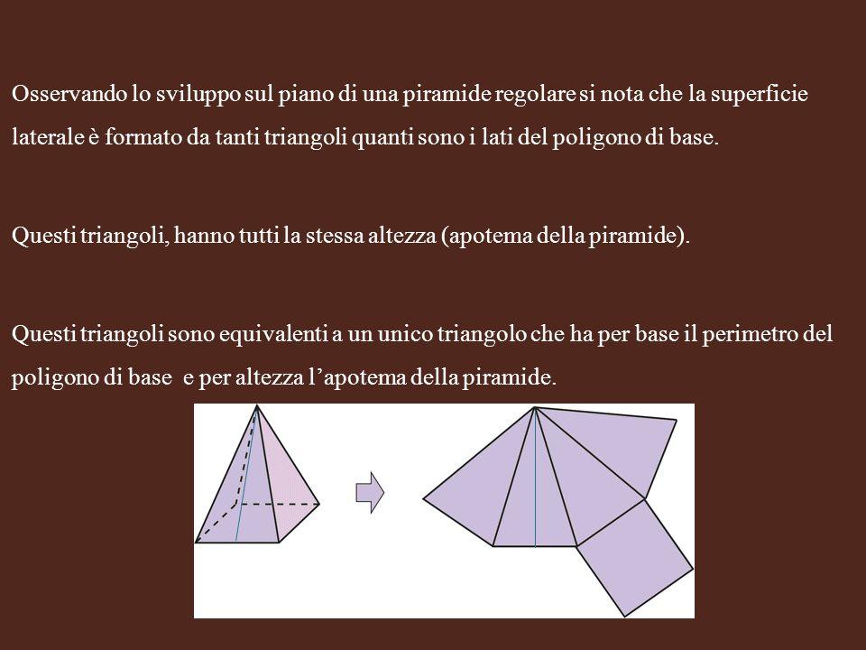 Osservando lo sviluppo sul piano di una piramide regolare si nota che la superficie laterale è formato da tanti triangoli quanti sono i lati del poligono di base.