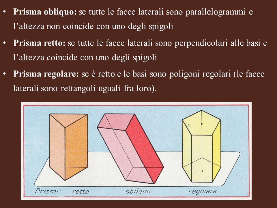 Prisma obliquo: se tutte le facce laterali sono parallelogrammi e l'altezza non coincide con uno degli spigoli