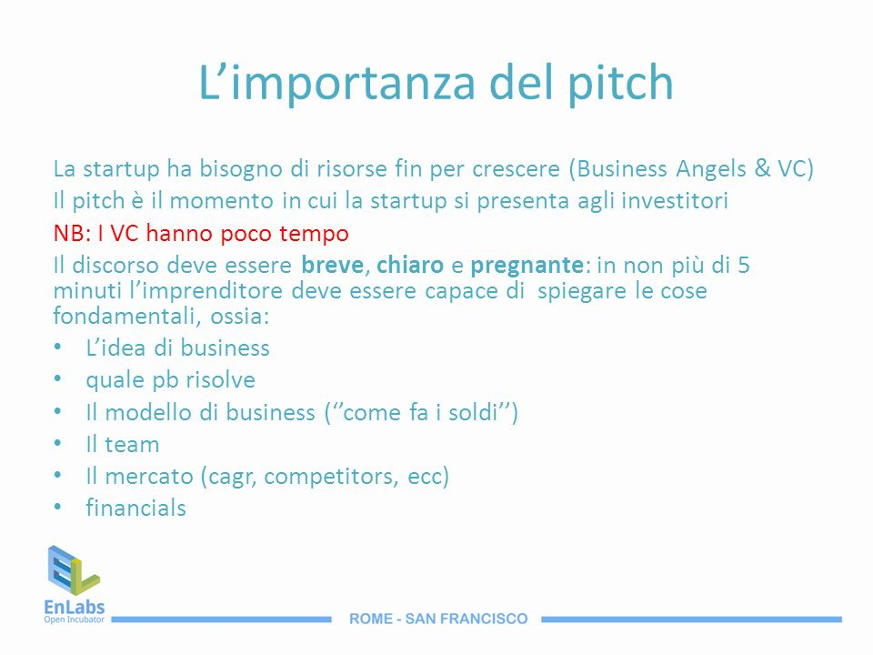 L'importanza del pitch