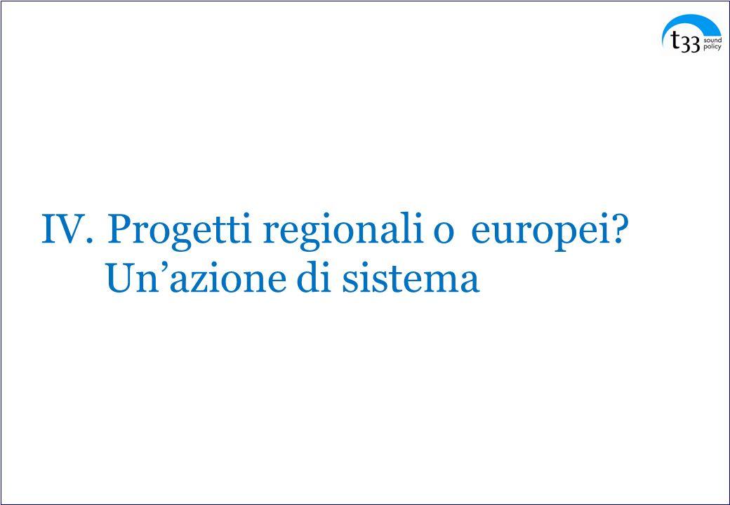 IV. Progetti regionali o europei Un'azione di sistema