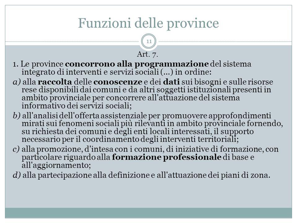 Funzioni delle province