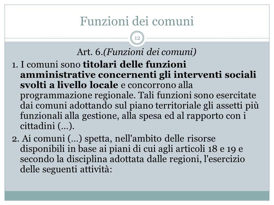 Art. 6.(Funzioni dei comuni)