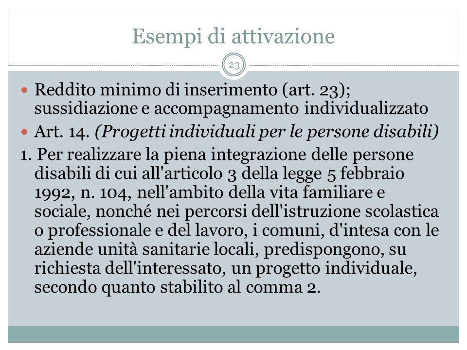 Esempi di attivazione Reddito minimo di inserimento (art. 23); sussidiazione e accompagnamento individualizzato.