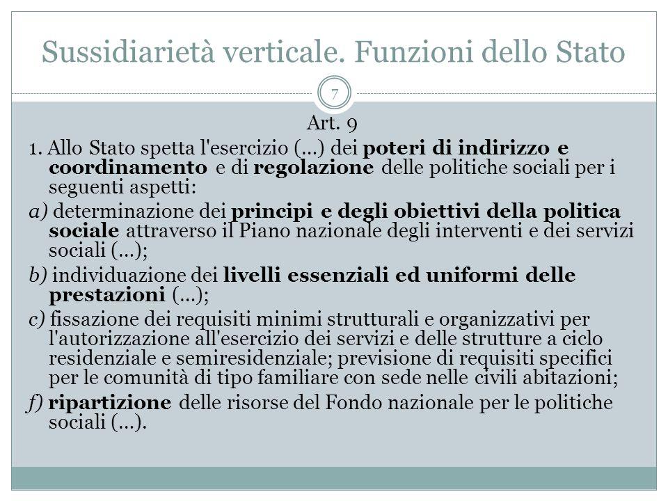 Sussidiarietà verticale. Funzioni dello Stato
