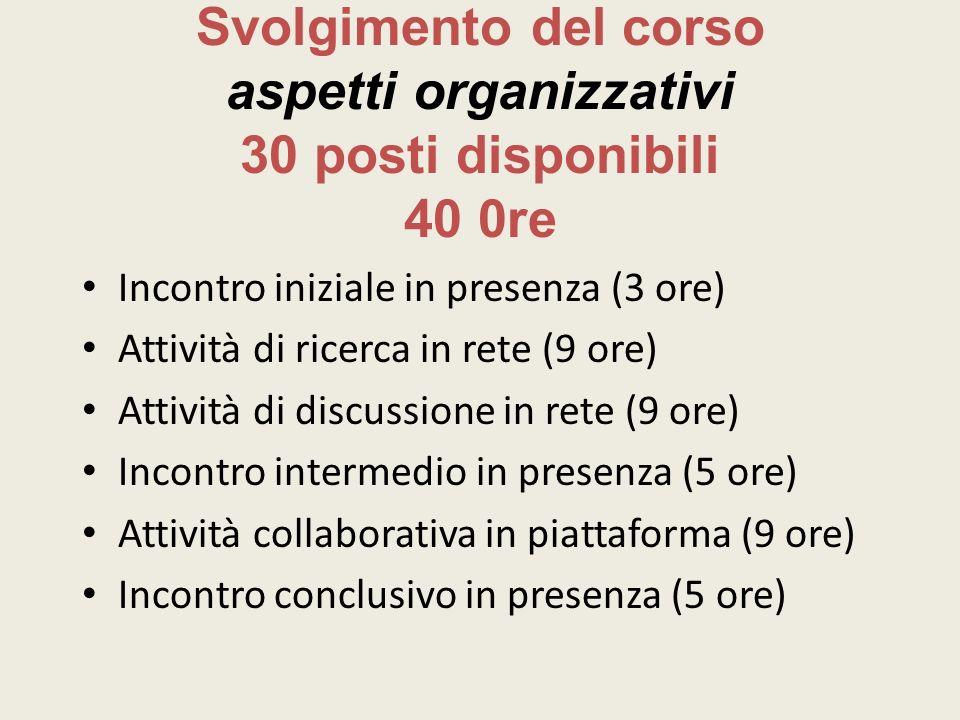 Svolgimento del corso aspetti organizzativi 30 posti disponibili 40 0re