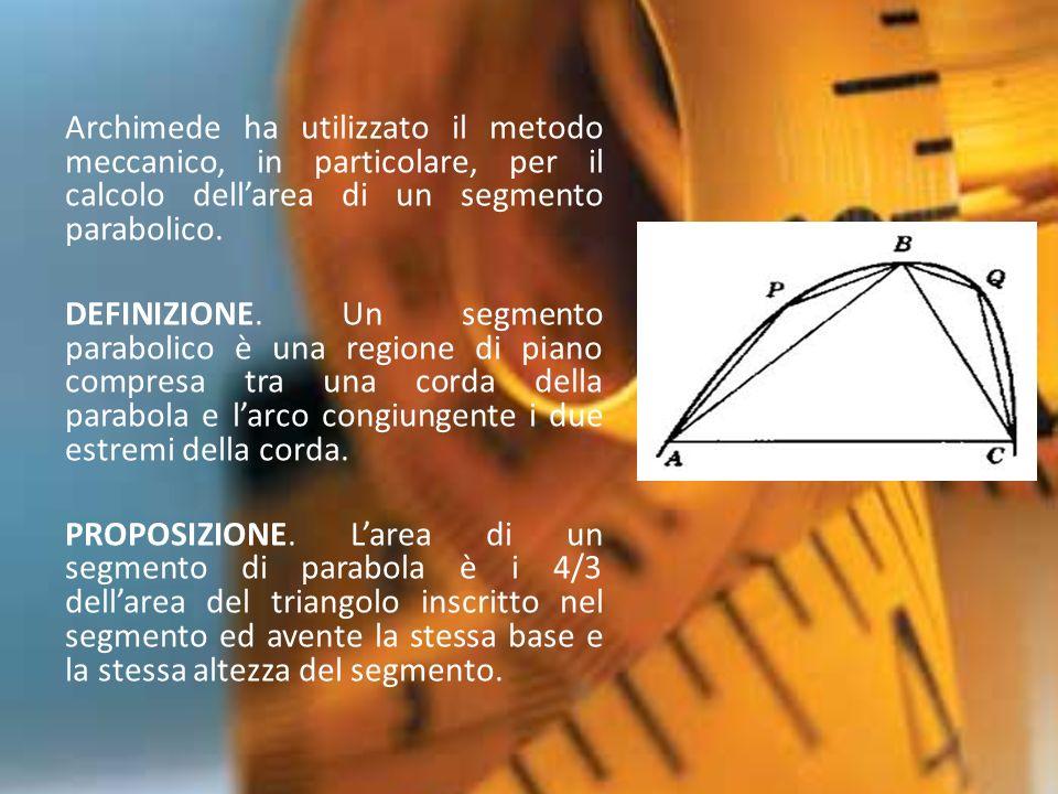 Archimede ha utilizzato il metodo meccanico, in particolare, per il calcolo dell'area di un segmento parabolico.