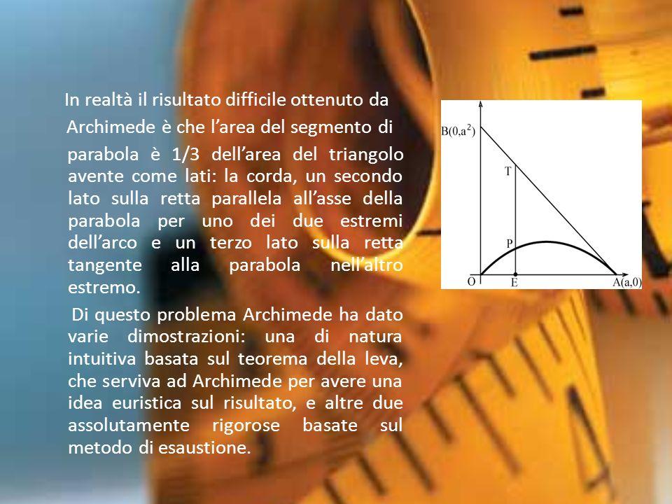 Archimede è che l'area del segmento di