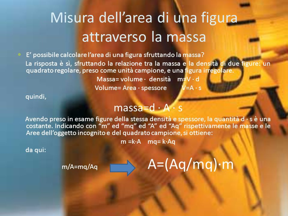 Misura dell'area di una figura attraverso la massa