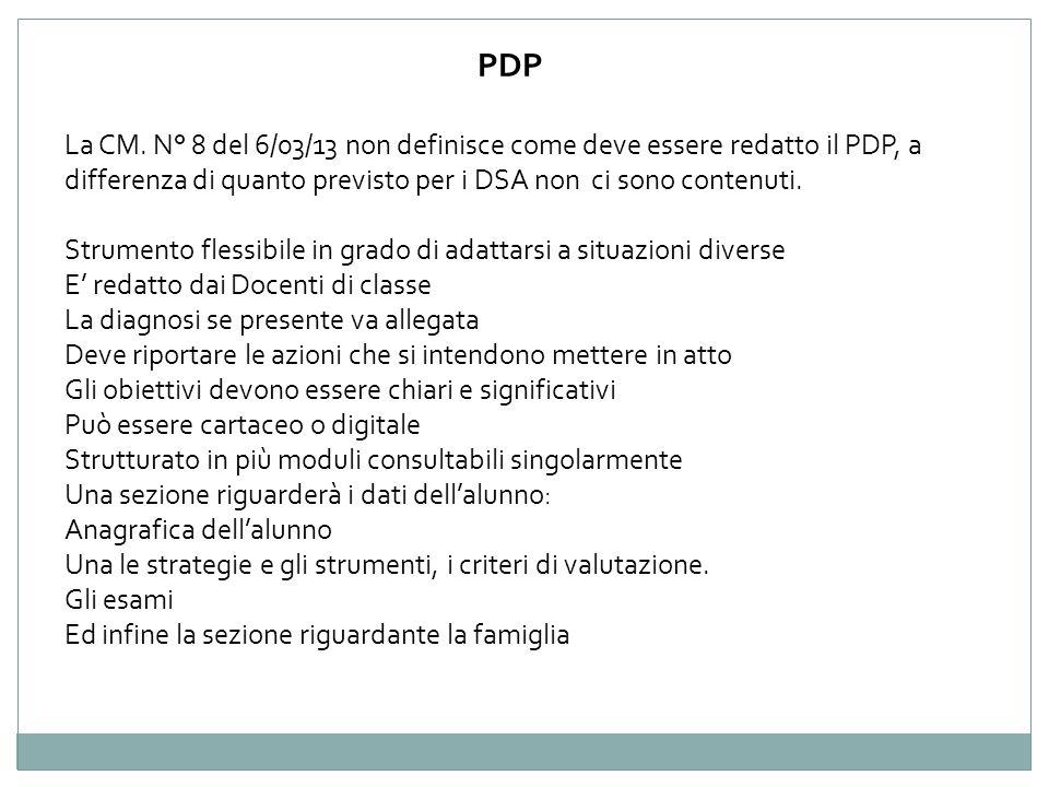 PDP La CM. N° 8 del 6/03/13 non definisce come deve essere redatto il PDP, a differenza di quanto previsto per i DSA non ci sono contenuti.