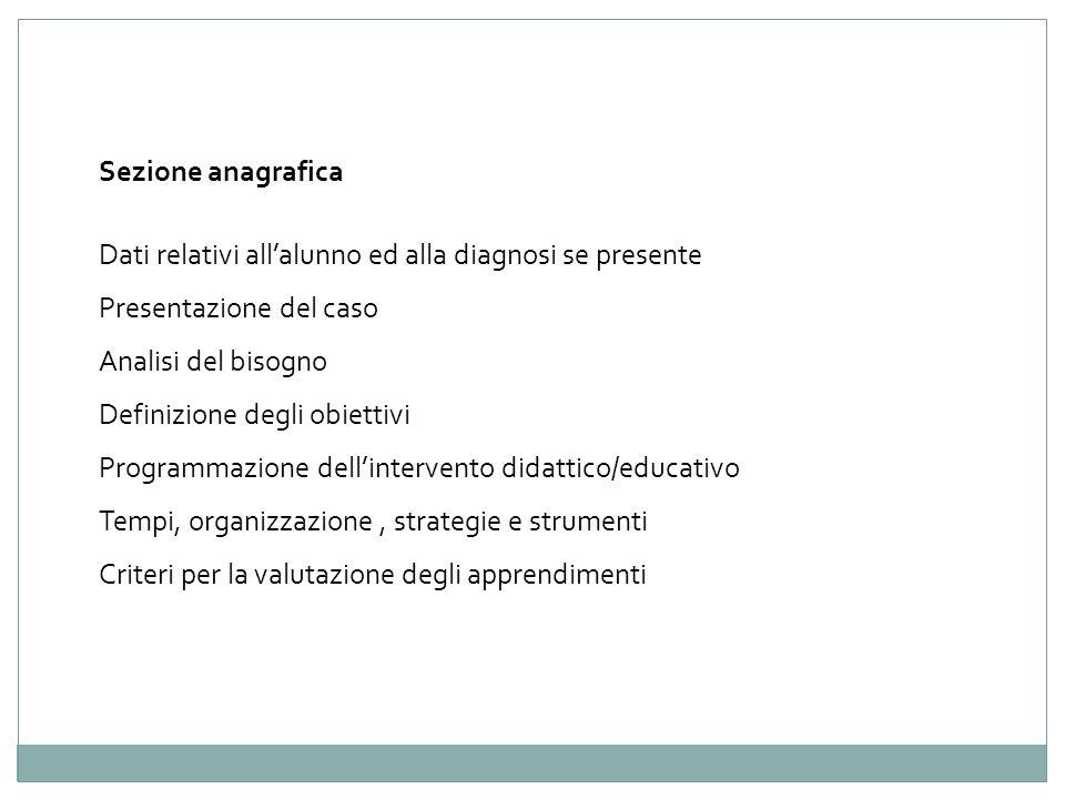 Sezione anagrafica Dati relativi all'alunno ed alla diagnosi se presente. Presentazione del caso. Analisi del bisogno.