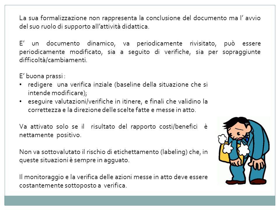 La sua formalizzazione non rappresenta la conclusione del documento ma l' avvio del suo ruolo di supporto all'attività didattica.