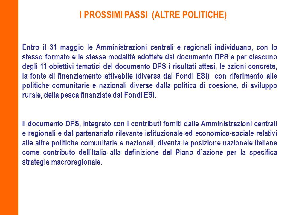 I PROSSIMI PASSI (ALTRE POLITICHE)