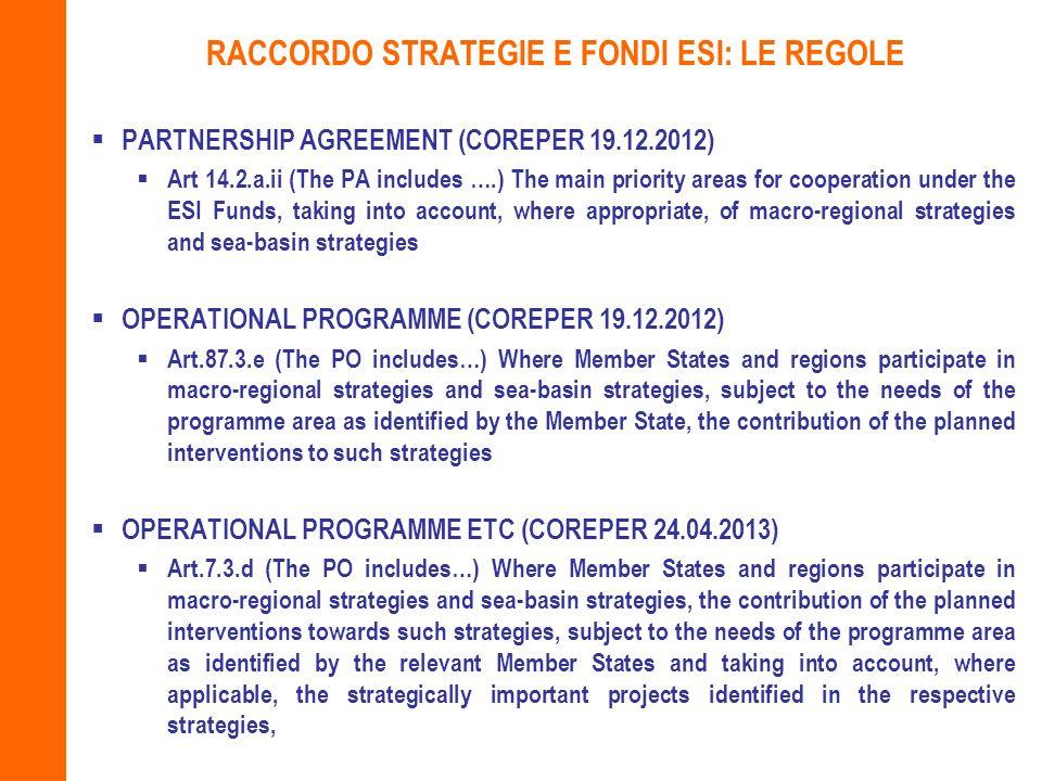 RACCORDO STRATEGIE E FONDI ESI: LE REGOLE