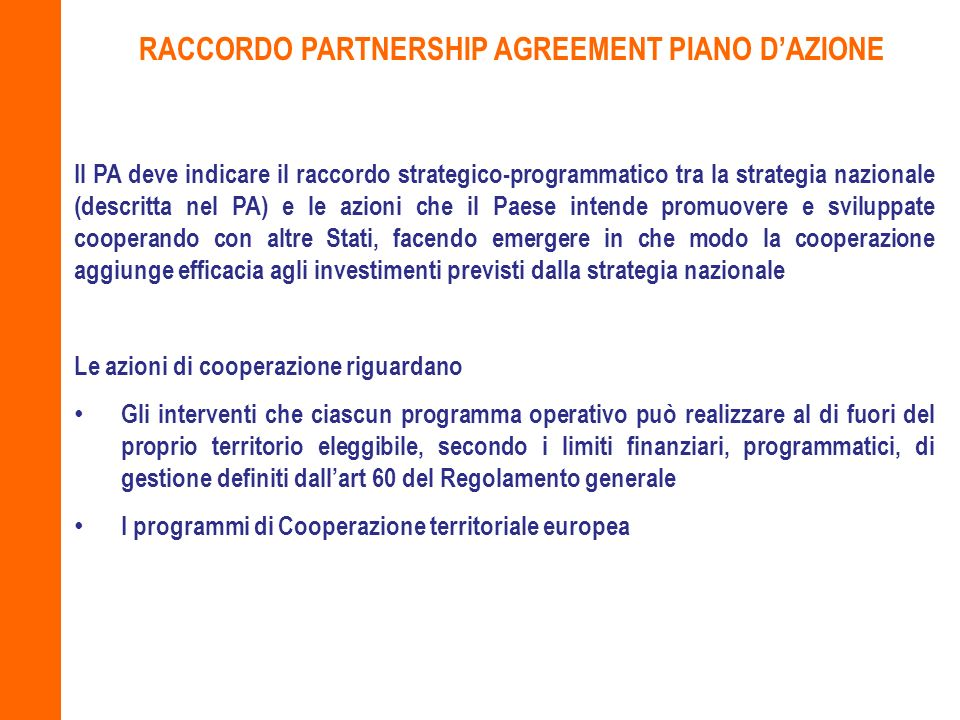 RACCORDO PARTNERSHIP AGREEMENT PIANO D'AZIONE