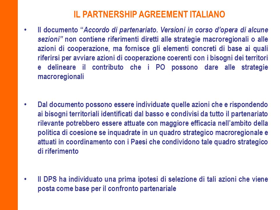 IL PARTNERSHIP AGREEMENT ITALIANO