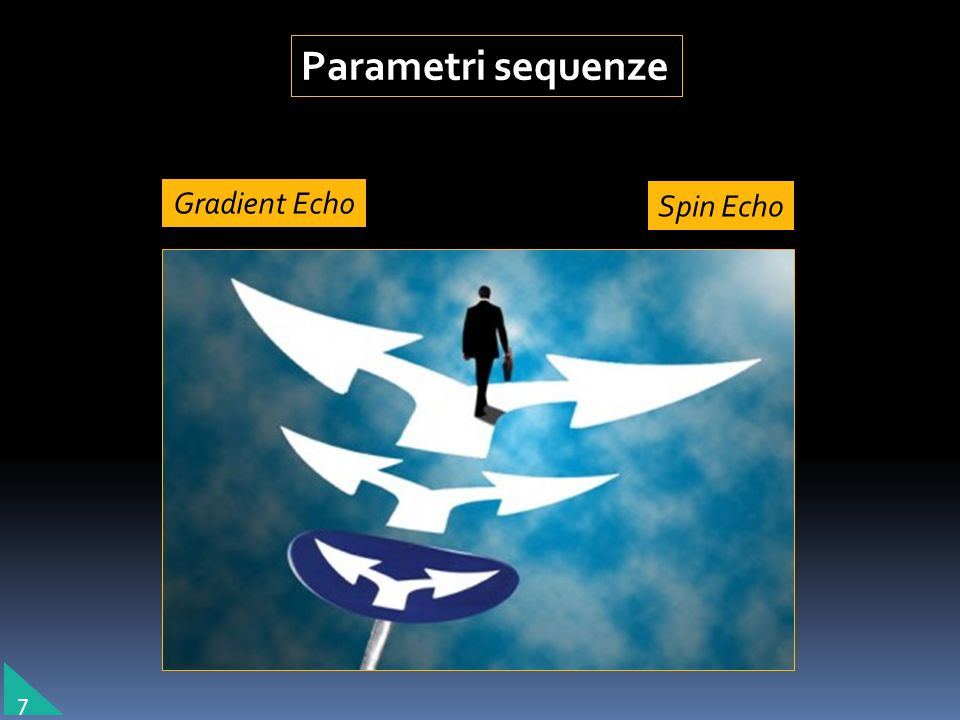 Parametri sequenze Gradient Echo Spin Echo 7