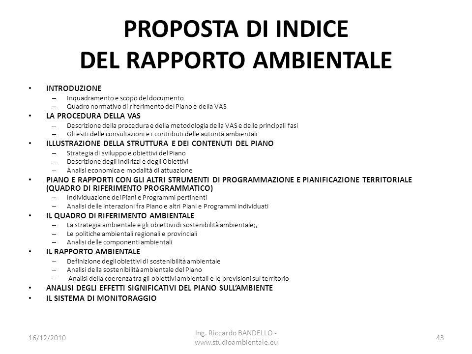 PROPOSTA DI INDICE DEL RAPPORTO AMBIENTALE