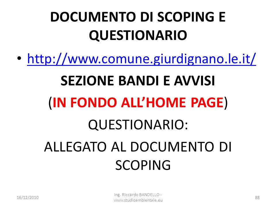 DOCUMENTO DI SCOPING E QUESTIONARIO