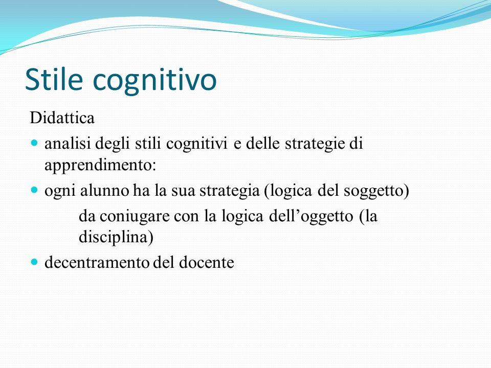 Stile cognitivo Didattica