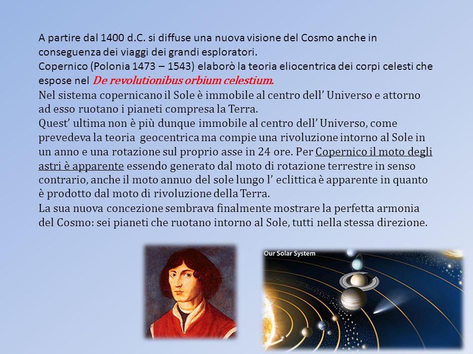 A partire dal 1400 d.C. si diffuse una nuova visione del Cosmo anche in conseguenza dei viaggi dei grandi esploratori.