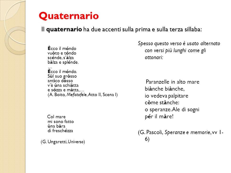 Quaternario Il quaternario ha due accenti sulla prima e sulla terza sillaba: