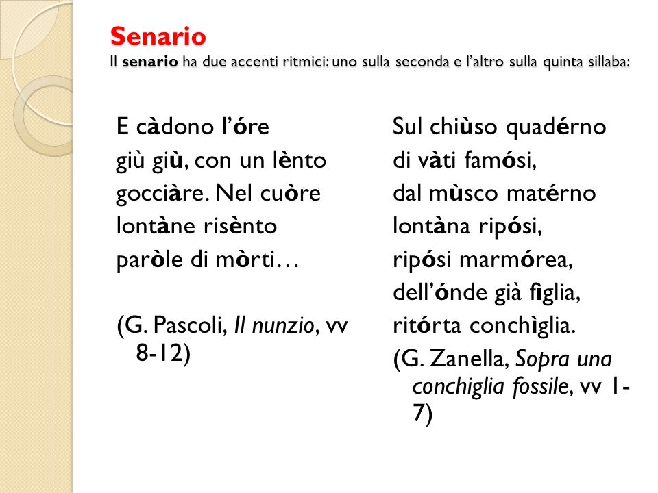 Senario Il senario ha due accenti ritmici: uno sulla seconda e l'altro sulla quinta sillaba: