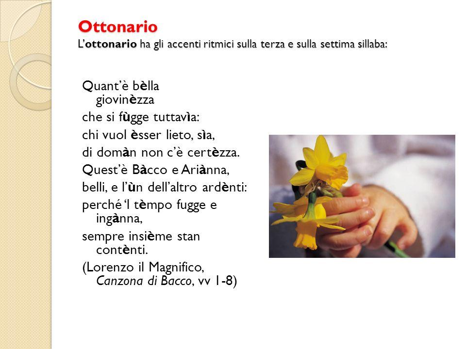 Ottonario L'ottonario ha gli accenti ritmici sulla terza e sulla settima sillaba: