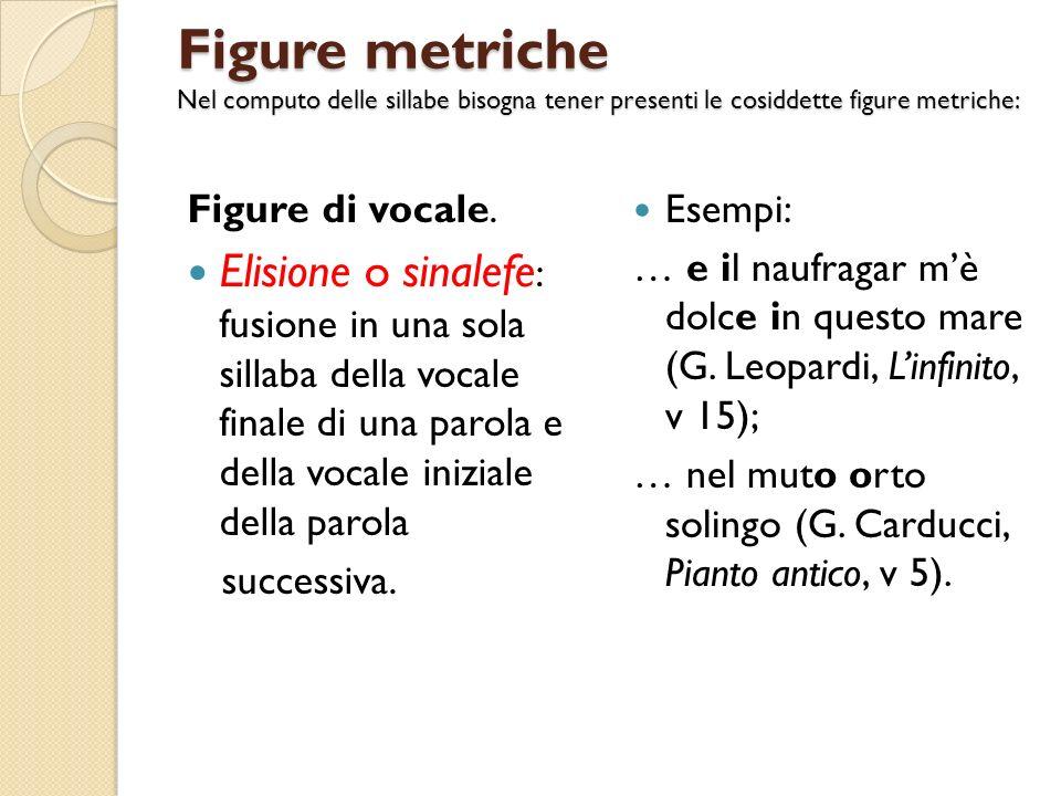 Figure metriche Nel computo delle sillabe bisogna tener presenti le cosiddette figure metriche: