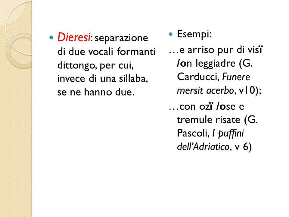Esempi: …e arriso pur di visï /on leggiadre (G. Carducci, Funere mersit acerbo, v10);