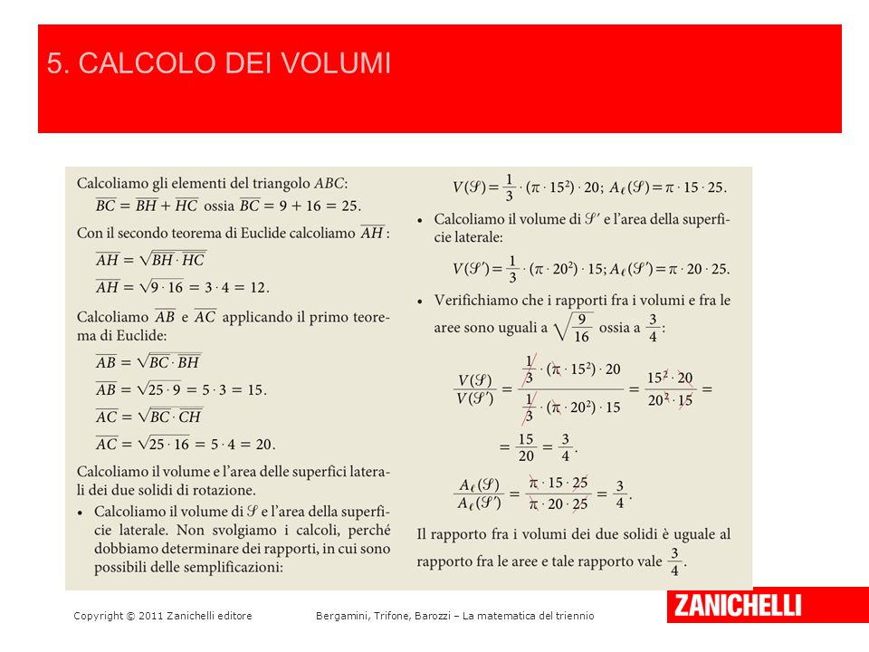 5. CALCOLO DEI VOLUMI LA PARABOLA E LA SUA EQUAZIONE /15 42