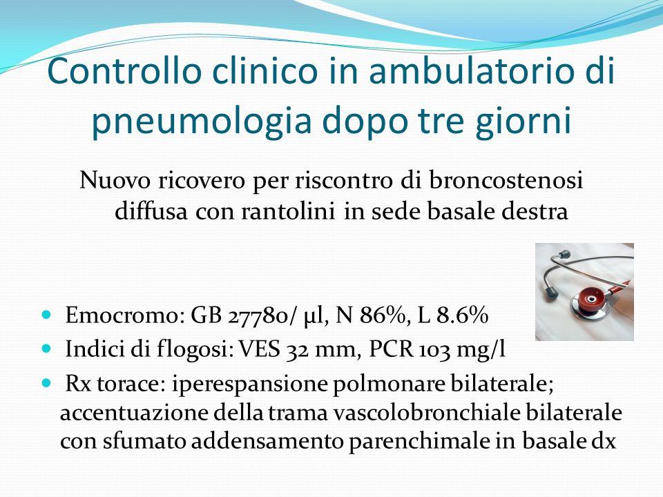Controllo clinico in ambulatorio di pneumologia dopo tre giorni