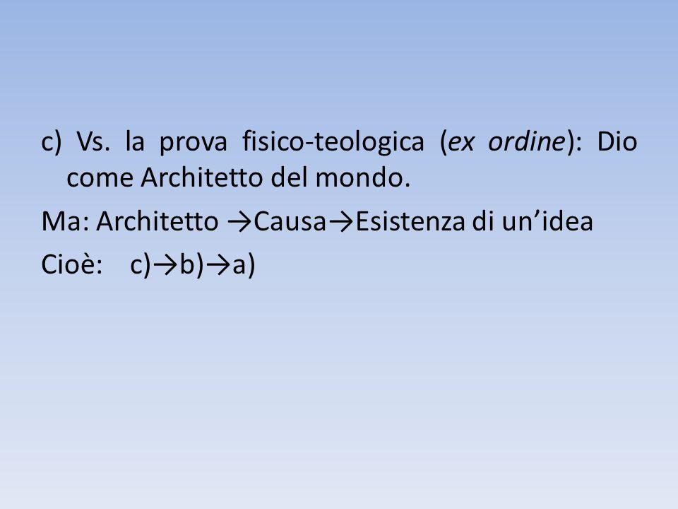 c) Vs. la prova fisico-teologica (ex ordine): Dio come Architetto del mondo.