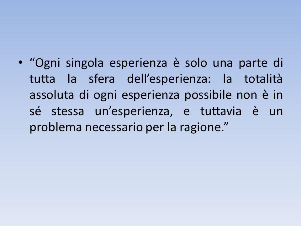 Ogni singola esperienza è solo una parte di tutta la sfera dell'esperienza: la totalità assoluta di ogni esperienza possibile non è in sé stessa un'esperienza, e tuttavia è un problema necessario per la ragione.