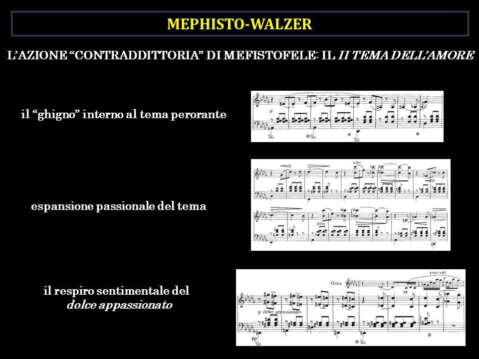 MEPHISTO-WALZER L'AZIONE CONTRADDITTORIA DI MEFISTOFELE: IL II TEMA DELL'AMORE. il ghigno interno al tema perorante.